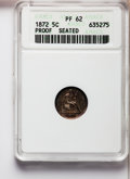 Proof Seated Half Dimes: , 1872 H10C PR62 ANACS. NGC Census: (14/122). PCGS Population(29/118). Mintage: 950. Numismedia Wsl. Price for problem free ...