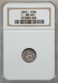 Seated Half Dimes: , 1845 H10C MS63 NGC. NGC Census: (38/78). PCGS Population (30/81).Mintage: 1,564,000. Numismedia Wsl. Price for problem fre...