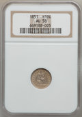 Seated Half Dimes: , 1851 H10C AU58 NGC. NGC Census: (11/111). PCGS Population (6/82).Mintage: 781,000. Numismedia Wsl. Price for problem free ...