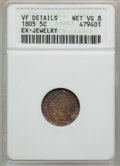 Early Half Dimes: , 1805 H10C -- Ex-Jewelry -- ANACS. VF Details, Net VG8. NGC Census:(1/21). PCGS Population (5/47). Mintage: 15,600. Numisme...