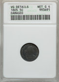 Early Half Dimes: , 1805 H10C -- Damaged -- ANACS. VG Details, Net Good 4. NGC Census:(0/22). PCGS Population (3/55). Mintage: 15,600. Numisme...