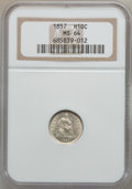 Seated Half Dimes: , 1857 H10C MS64 NGC. NGC Census: (203/163). PCGS Population(150/87). Mintage: 7,280,000. Numismedia Wsl. Price for problem ...
