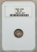 Seated Half Dimes: , 1843 H10C MS64 NGC. NGC Census: (46/34). PCGS Population (38/23).Mintage: 1,165,000. Numismedia Wsl. Price for problem fre...