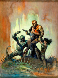 Frank Frazetta The Solar Invasion Paperback Cover Original Art (Popular Library, 1968)