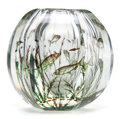 Art Glass:Other , EDVARD HALD ORREFORS GLASS VASE . Glass hexagonal vase in the Graalfashion with swimming fish motif, circa 1930. Engraved: ...