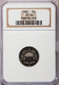 Proof Shield Nickels: , 1881 5C PR65 NGC. NGC Census: (232/197). PCGS Population (268/160).Mintage: 3,575. Numismedia Wsl. Price for problem free ...