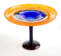 Art Glass:Schneider, CHARLES SCHNEIDER GLASS COUPE . Orange to blue glass coupe withapplied blue stem and violet base, circa 1924. Engraved:S...
