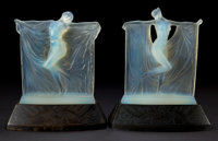 R. LALIQUE OPALESCENT GLASS SUZANNE AND THAIS STATUETTES ON