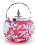 Art Glass:Webb, THOMAS WEBB GLASS BISCUIT BARREL . Rose glass with white overlay, etched in sealife motif, with silver-plated cover and hand...