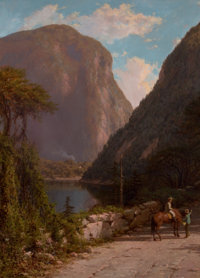 GEORGE L. CLOUGH (American, 1824-1901) Delaware Water Gap Oil on canvas 37-1/2 x 27-1/2 inches (9