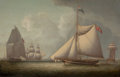 Fine Art - Painting, American:Antique  (Pre 1900), ROBERT SALMON (Scottish-American, 1775-1844). A NavalCutter, 1825. Oil on panel. 20 x 31 inches (50.8 x 78.7 cm).Initi...