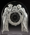 Art Glass:Lalique, R. LALIQUE CLEAR AND FROSTED GLASS DEUX FIGURINES CLOCKELEMENT . Circa 1926. Wheel carved: R. LALIQUE, FRANCE ...
