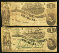 Confederate Notes:1862 Issues, T44 $1 1862 PF-1 Cr. 339;. T45 $1 1862 PF-2 Cr. 342.. ... (Total: 2items)