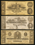 Confederate Notes:1862 Issues, T52 $10 1862;. T53 $5 1862;. T55 $1 1862.. ... (Total: 3 notes)