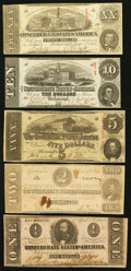 Confederate Notes:1863 Issues, T58 $20 1863;. T59 $10 1863;. T60 $5 1863;. T61 $2 1863;. T62 $11863.. ... (Total: 5 notes)