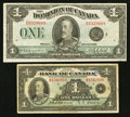 Canadian Currency: , DC-25o $1 1923;. BC-1 $1 1935.. ... (Total: 2 notes)
