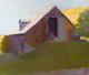 WOLF KAHN (American, b. 1927-) Barn Against a Sunlit Hillside, 1977 Oil on canvas 43-1/4 x 51-1/4 inches (109.9 x 130