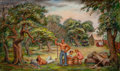 Paintings, LLOYD LOZES GOFF (American, 1918-1982). Apple Harvest, 1936. Tempera and oil on canvas. 18-1/4 x 30-1/4 inches (46.4 x 7...