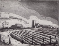 BLANCHE MCVEIGH (American, 1895-1970) Furrows and Skyline, Fort Worth (pair) Etchings with drypoint
