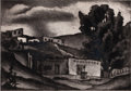 Texas:Early Texas Art - Drawings & Prints, BLANCHE MCVEIGH (American, 1895-1970). Untitled Landscape andAdobe Houses (pair). Etching with drypoint and aquatint an...(Total: 2 Items)