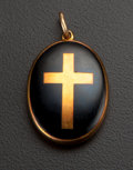 Estate Jewelry:Pendants and Lockets, Victorian Gold & Black Enamel Memorial Gold Locket. ...