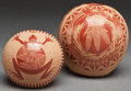 Other, TWO SANTA CLARA ETCHED REDWARE SEED JARS. Joseph Lonewolf and Grace Medicine Flower. c. 1974... (Total: 2 Items)