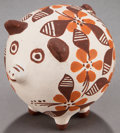American Indian Art:Pottery, AN ACOMA POLYCHROME PIG EFFIGY. Joyce Leno...