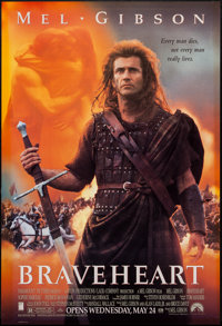 "Braveheart (Paramount, 1995). One Sheet (27"" X 40"") DS Advance. Action"