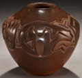 Other, A SANTA CLARA/NAVAJO CARVED BROWNWARE JAR. Harrison Begay. c. 2004...