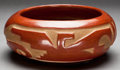 American Indian Art:Pottery, A SANTA CLARA CARVED REDWARE BOWL. Sarafine Tafoya. c. 1950...