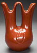 American Indian Art:Pottery, A SANTA CLARA REDWARE WEDDING VASE. Margaret Tafoya. c. 1975...