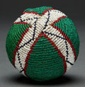 American Indian Art:Beadwork and Quillwork, A SIOUX BEADED HIDE BALL. c. 1890 ...
