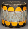 American Indian Art:Wood Sculpture, A COCHITI PAINTED WOOD DRUM...