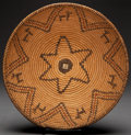 American Indian Art:Baskets, A WHITE MOUNTAIN APACHE PICTORIAL POLYCHROME COILED TRAY. c.1920...