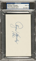 Baseball Collectibles:Others, 1961 Rogers Hornsby Signed Index Card PSA Mint 9. ...