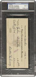 Baseball Collectibles:Others, 1943 Walter Johnson Signed Check - PSA/DNA Mint 9. ...