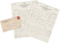 Autographs:Letters, 1931 Walter Johnson Handwritten Signed Letter to Clyde Milan--TwoAutographs!...
