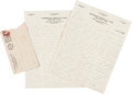 Autographs:Letters, 1930 Walter Johnson Handwritten Letter to Clyde Milan--Two Autographs!...