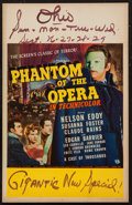 "Movie Posters:Horror, Phantom of the Opera (Universal, 1943). Window Card (14"" X 22"").Horror.. ..."