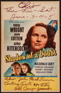 "Movie Posters:Hitchcock, Shadow of a Doubt (Universal, 1943). Window Card (14"" X 22"").Hitchcock.. ..."