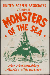 "The Sea Fiend (United Screen, R-1930s). One Sheet (28"" X 42""). Adventure. Alternate Title: Monsters of the Sea..."