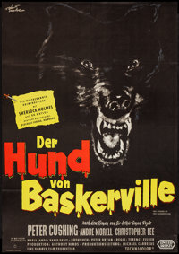 "The Hound of the Baskervilles (United Artists, 1959). German A1 (23"" X 33""). Mystery"