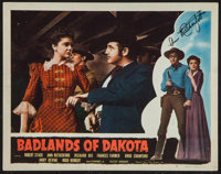 "Badlands of Dakota (Film Classics, R-1948). Autographed Lobby Card (11"" X 14""). Western"