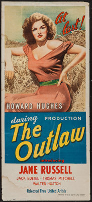 "The Outlaw (United Artists, 1946). Australian Daybill (13"" X 30""). Western"