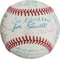 Autographs:Baseballs, 1977 Hall of Fame Induction Ceremonies Multi-Signed Baseball....