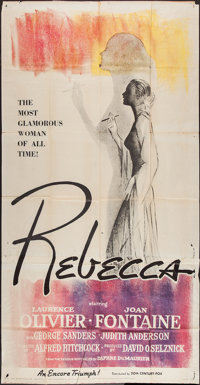 "Rebecca (20th Century Fox, R-1956). Three Sheet (41"" X 77.5""). Hitchcock"