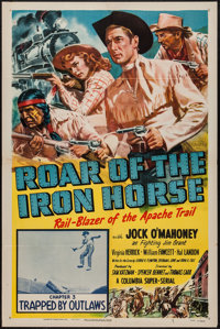 "Roar of the Iron Horse (Columbia, 1951). One Sheet (27"" X 41"") Chapter 3 -- ""Trapped by Outlaws."" Se..."