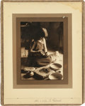 American Indian Art:Photographs, DECORATING POTTERY BY EDWARD S. CURTIS. ...