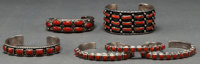 SIX NAVAJO SILVER AND CORAL BRACELETS c. 1985