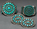 American Indian Art:Jewelry and Silverwork, FOUR SOUTHWEST SILVER AND TURQUOISE JEWELRY ITEMS. c. 1950...(Total: 4 Items)